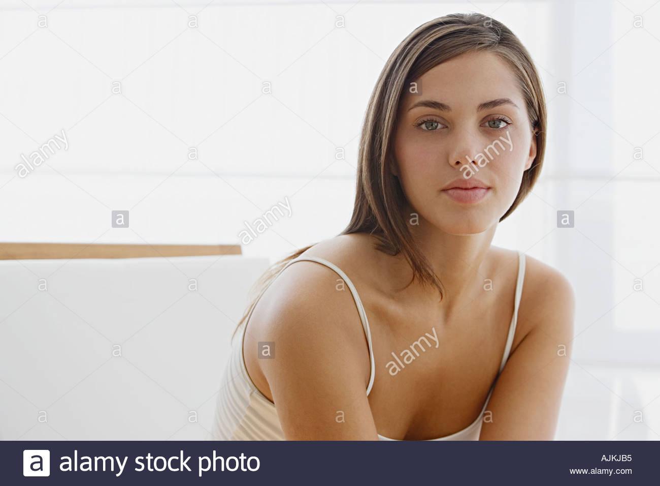 Junge Brünette Frau Stockbild