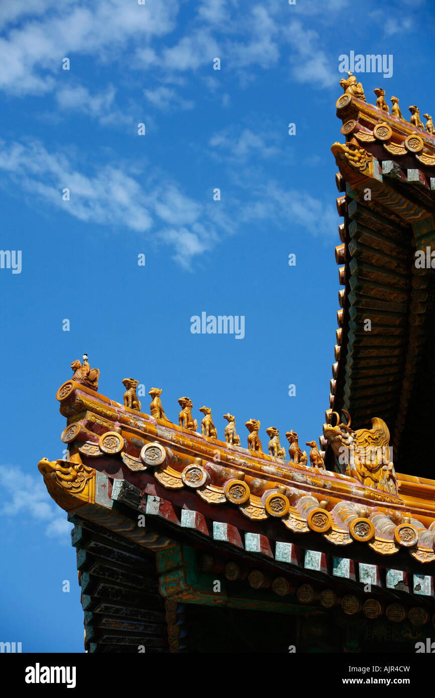 Detail eines Daches in der verbotenen Stadt Peking China Stockfoto