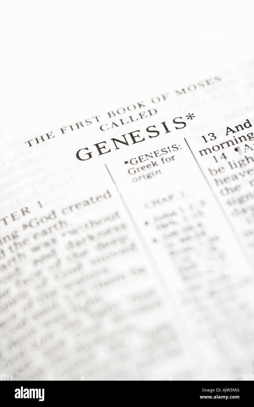 Selektiven Fokus der Genesis Verse in offenen Bibel Stockbild