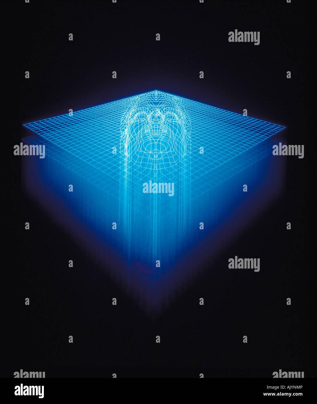 Grafik, Illustration, Concept, Gesicht in blau Gitter-Muster, Stockbild