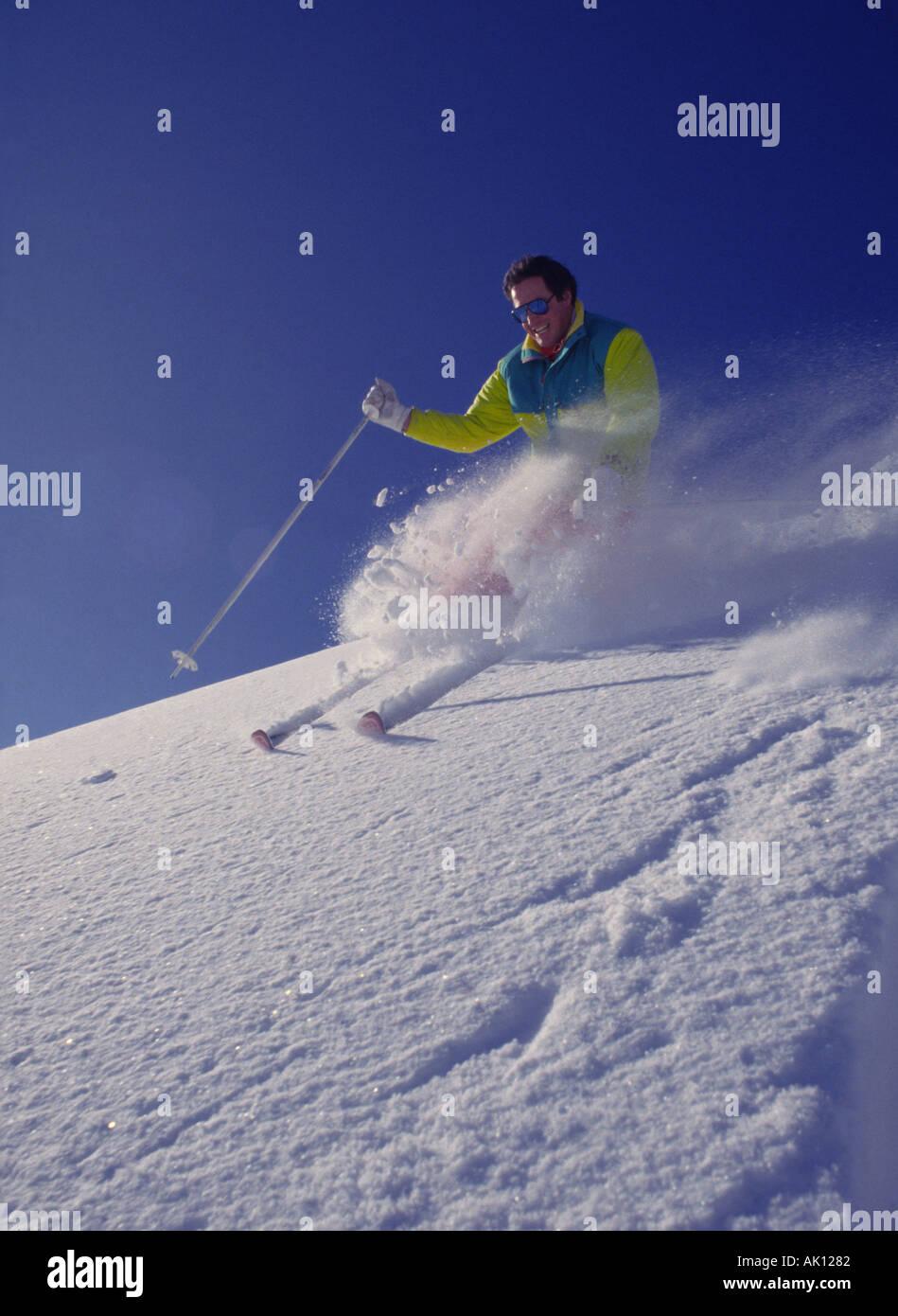 Archiv Foto eines Skifahrers ca. ca. 1988. Stockbild