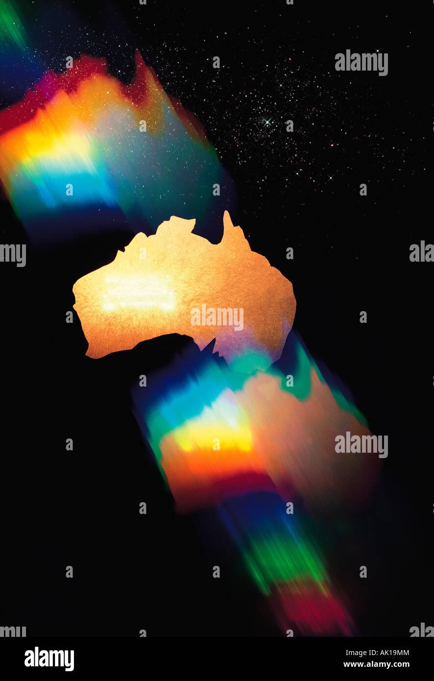Spektrale Grafikkonzept Bild des Kontinents Australien vor schwarzem Hintergrund. Stockbild