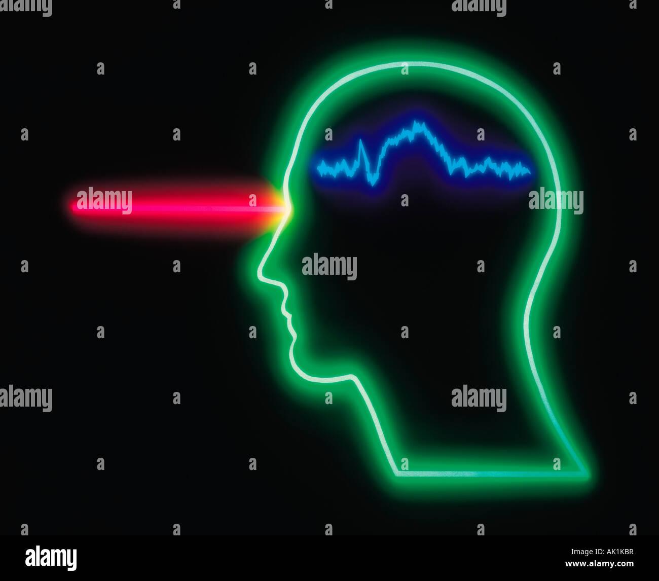 Grafik, Konzept, helle Zeichnung, Leuchtdioden aus Auge, Stockbild