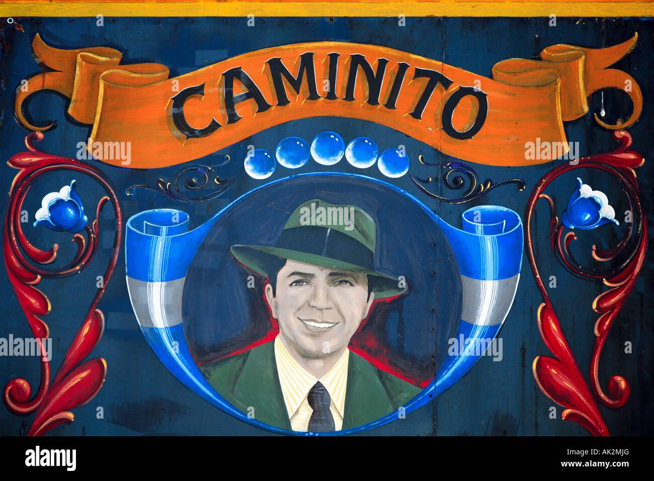 """Carlos Gardel"" Detailansicht am Schriftzug ""Filete Porteño"" Stil, ""La Boca"" Stockbild"