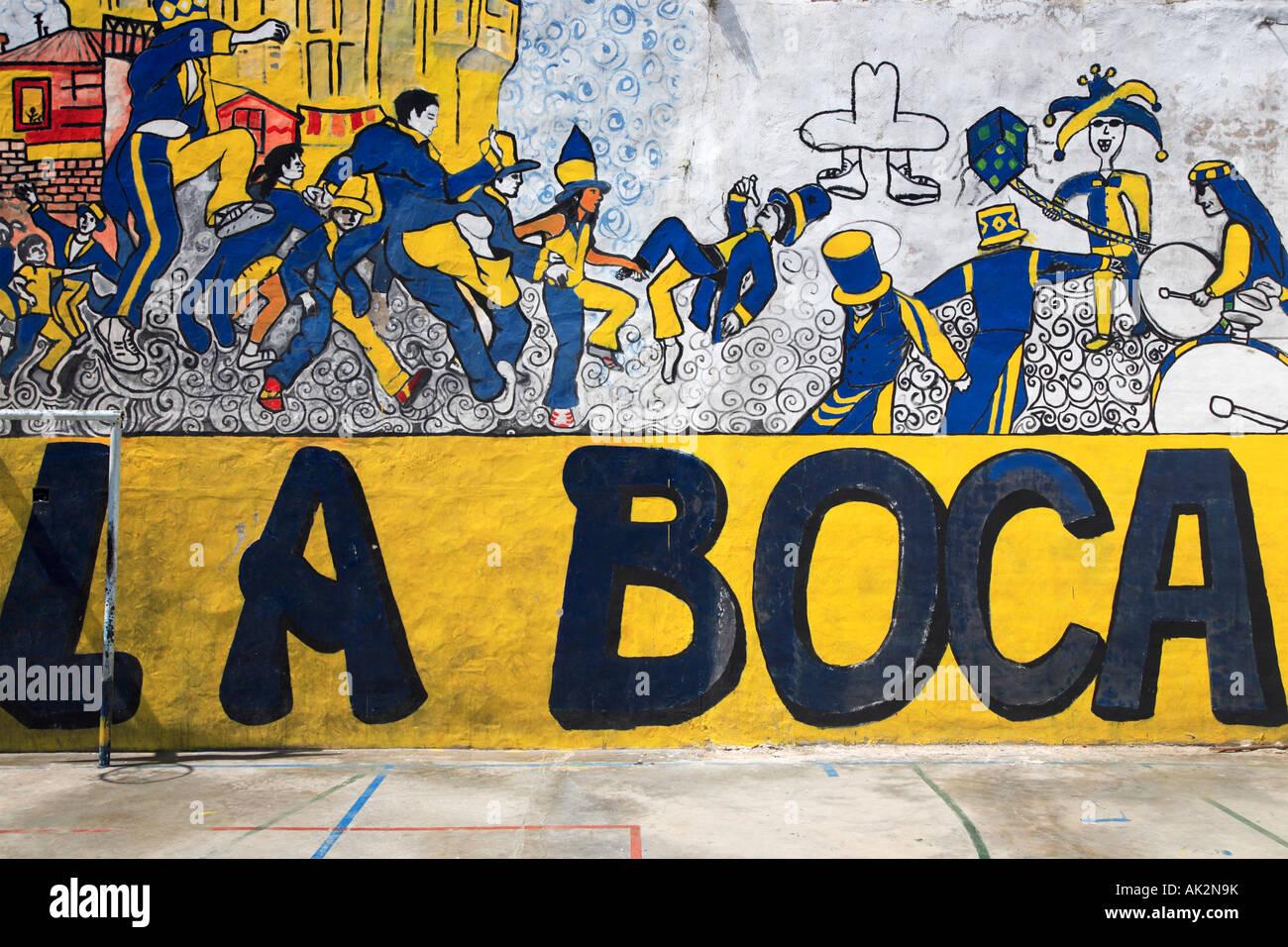 """""""Murga"""" Malerei Detailansicht am Fußballplatz. """"La Boca"""" Stadt, Buenos Aires, Argentinien. Stockbild"""