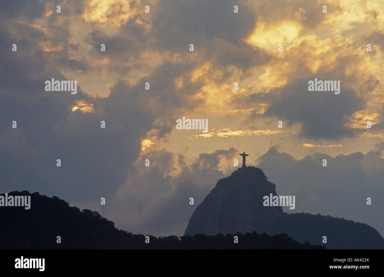 Blick auf Corcovado Berg vom Copacabana Brasilien Stockfoto