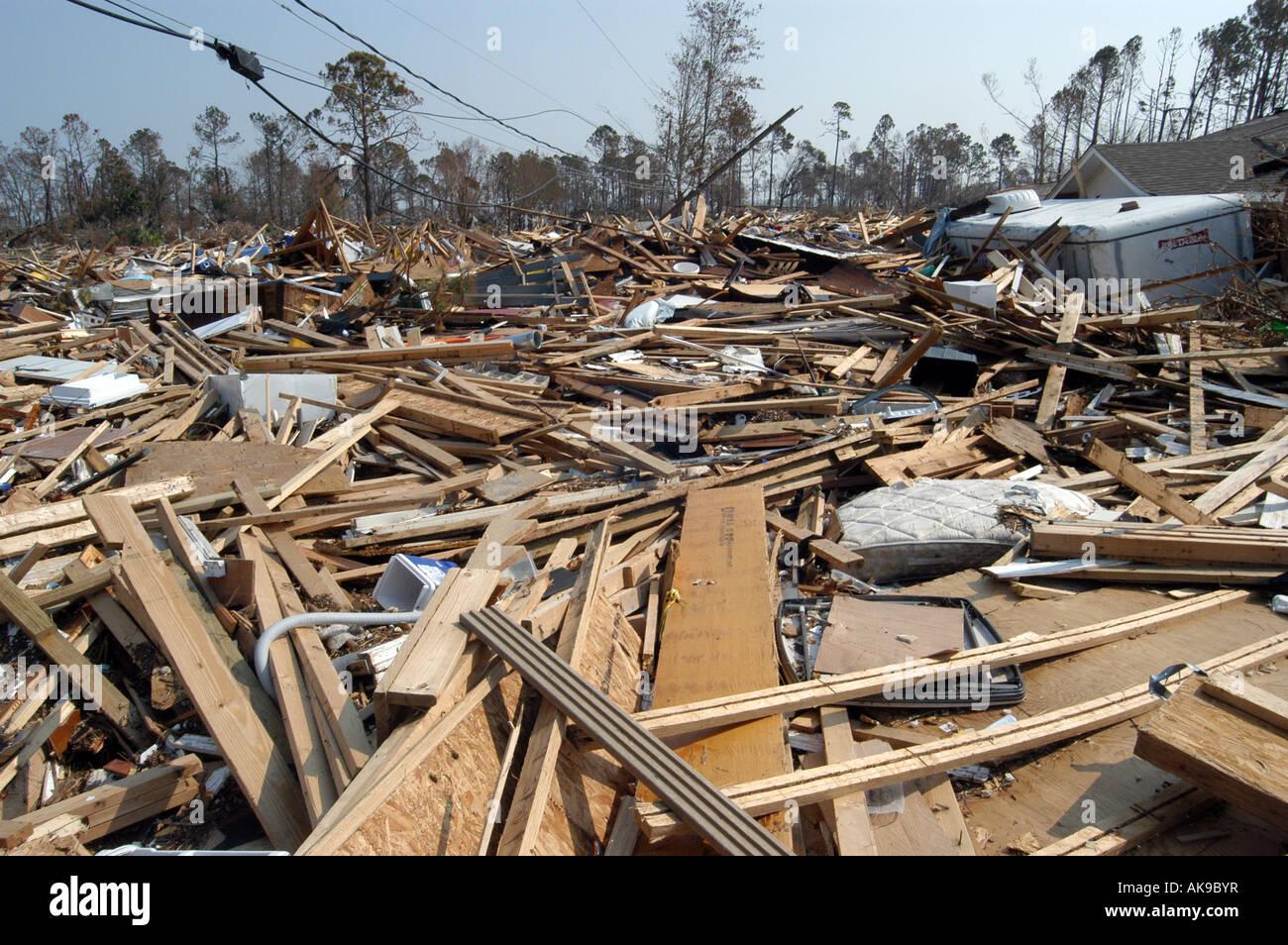 Hurrikanschäden nach Katrina Gulfport, Mississippi Stockbild
