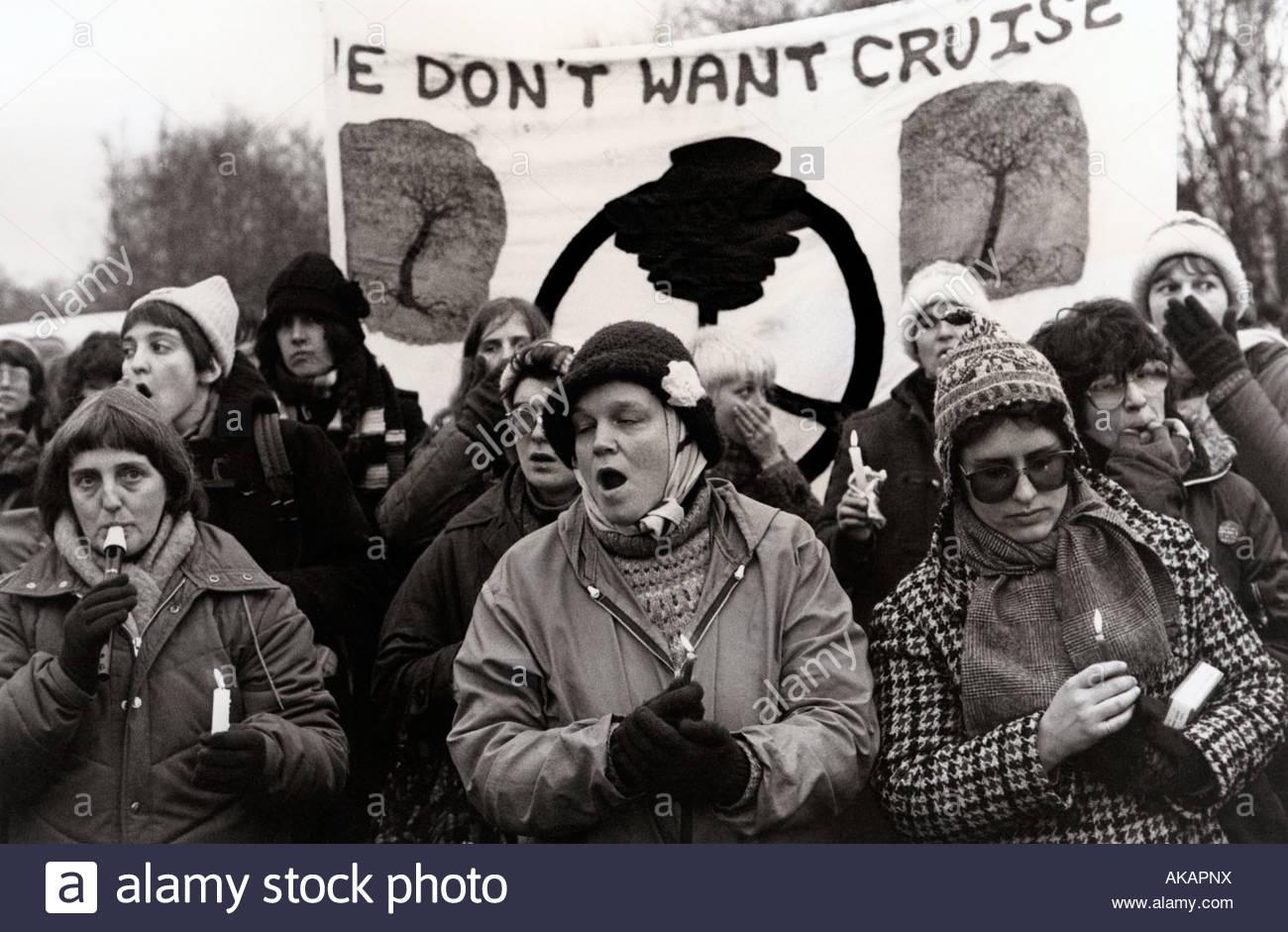 Candel Vigil befriedet Greenham Common Womens Camp 1983 Stockbild