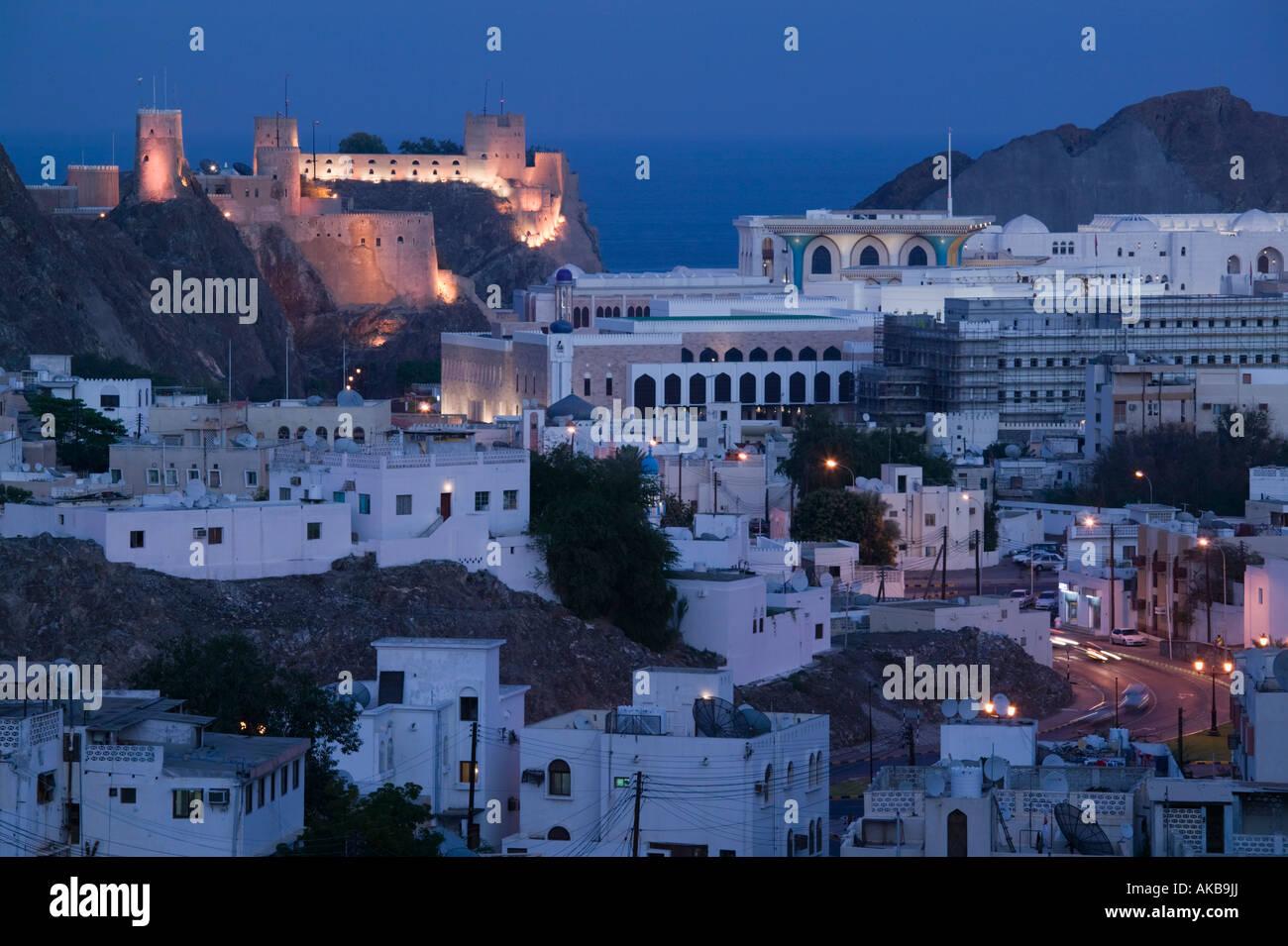 Oman, Muscat, ummauerten Stadt Maskat, Mirani Fort und Governmanet Gebäude Stockbild