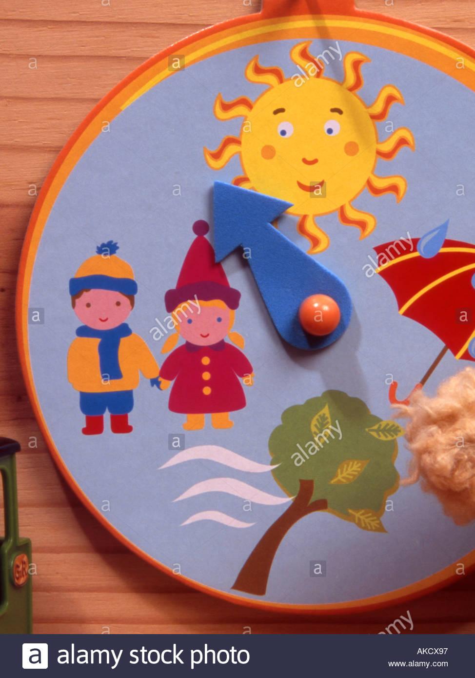 Ein Kinder Wetter Uhr Mit Bildlichen Darstellungen Von Sonne Wind