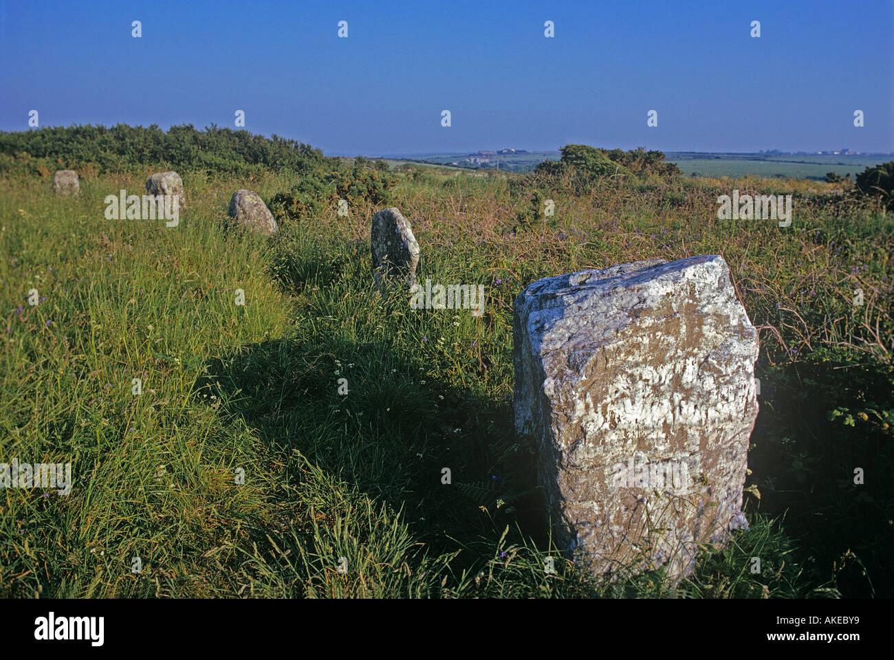 Seilfahrt un Steinkreis in der Nähe von Lands End ist 25 Fuß und enthält eine ungewöhnliche Quarzstein Stockbild