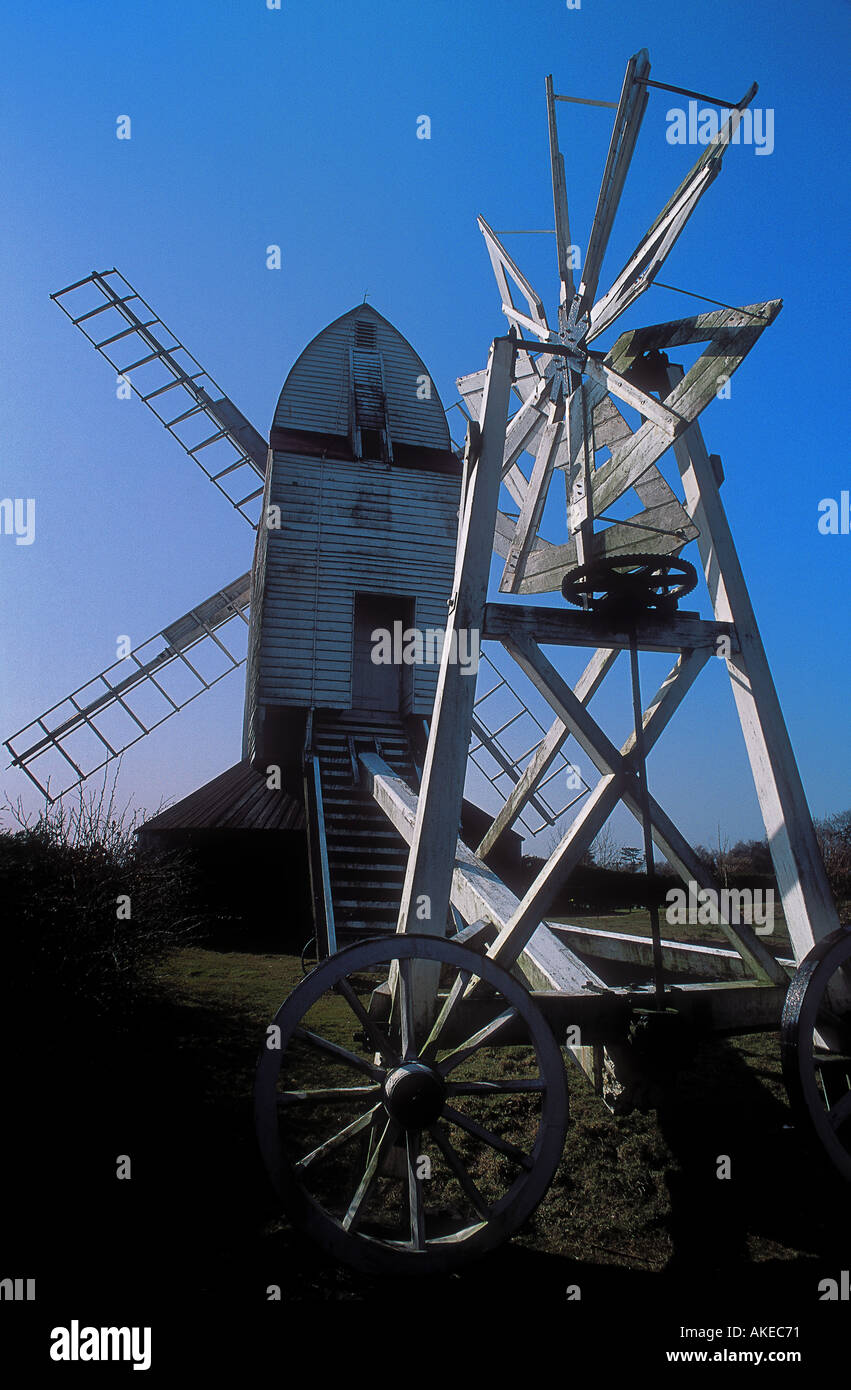 Windmühle, bekannt als die neue Mühle am Kreuz in der Hand in der Nähe von Heathfield in East Sussex, Stockbild