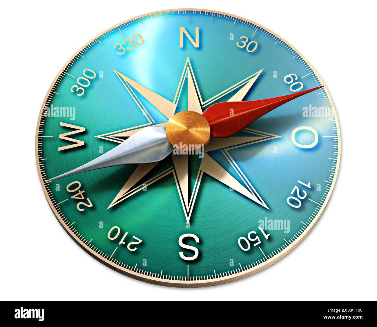 Kompass-Symbol der Richtung Orientierung zeigt den Weg in die Zukunft Stockbild