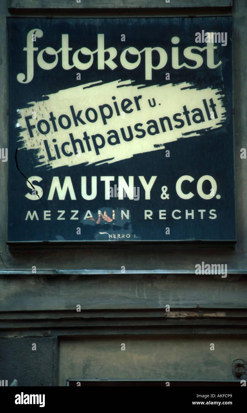 Wien 1, Seilerstätte, Nostalgieschild Stockbild