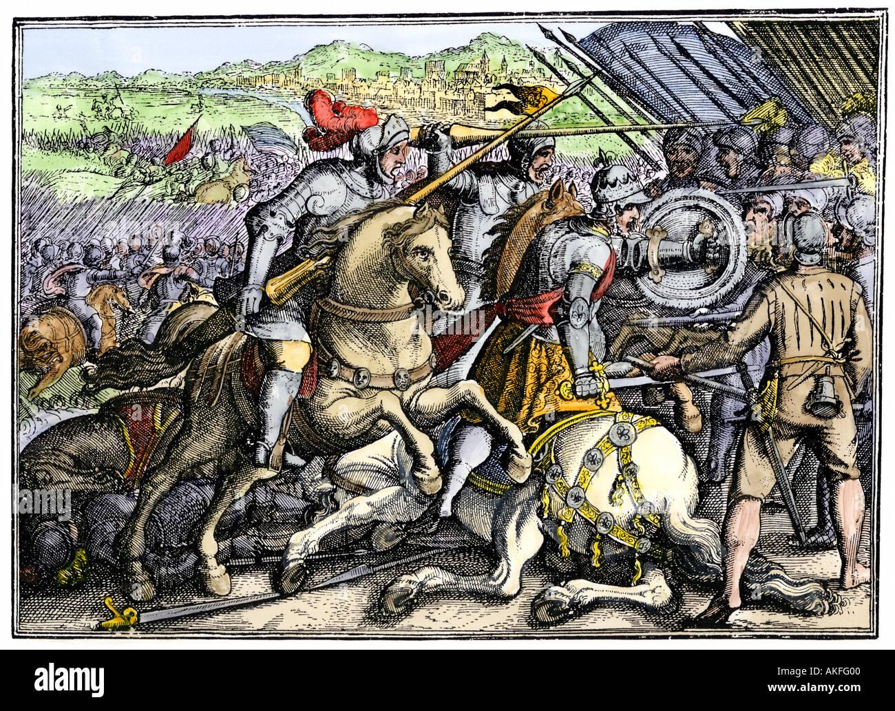 Der französische König Franz I. gefangen genommen in Pavia während des Krieges mit dem Heiligen Römischen Reich 1525. Hand - farbige Holzschnitt Stockbild