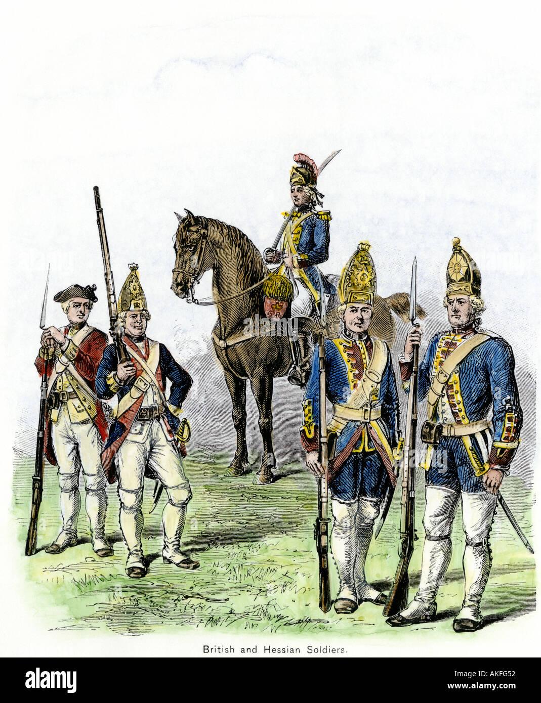 Britische und Hessische Soldaten in der amerikanischen Revolution. Hand - farbige Holzschnitt Stockbild