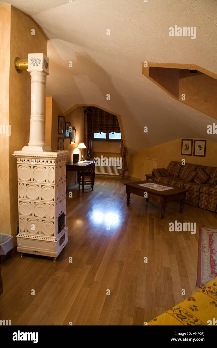Suite, Romantik Hotel Villa Novecento, Courmayeur, Valle d ' Aosta, Italien Stockbild