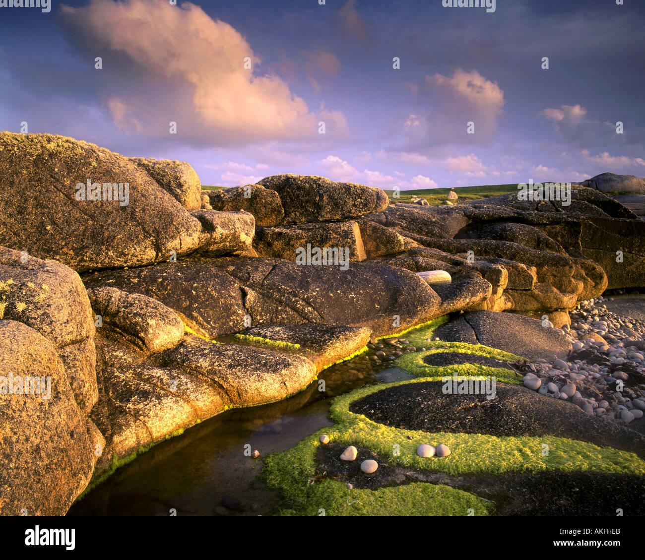 IE - CONNEMARA: Küsten Detail auf Omey Insel Stockbild