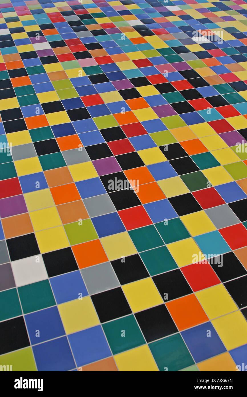 Perspektive Der Bunten Mosaik Fliesen Muster An Der Wand Stockfoto