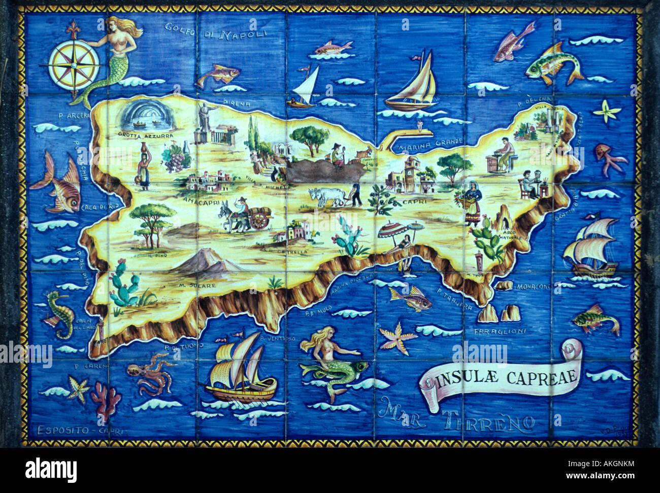 Capri Map Stockfotos Und Bilder Kaufen Alamy