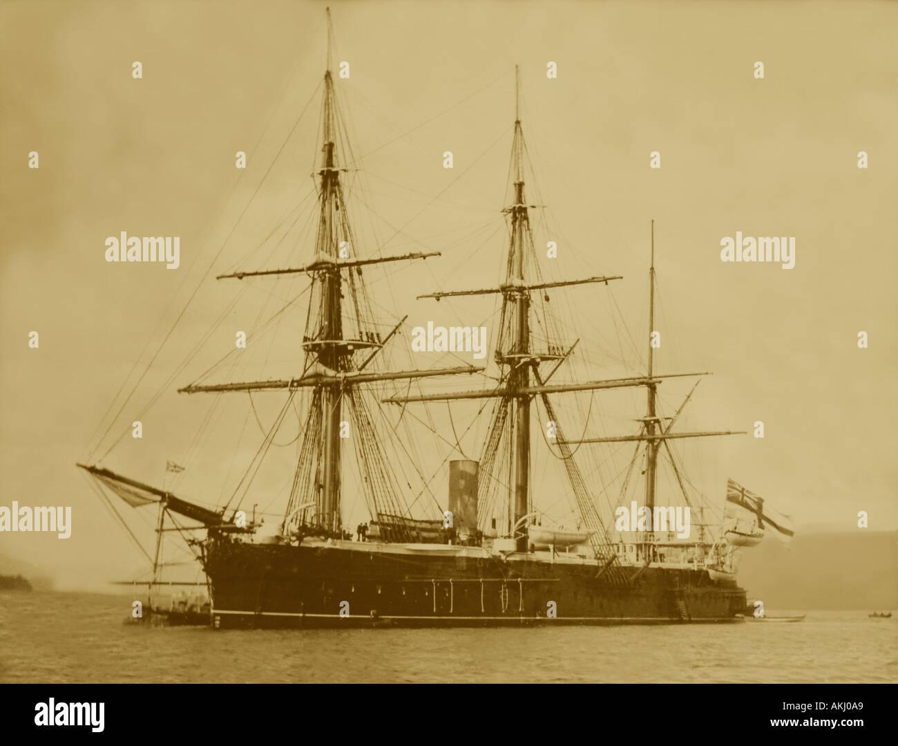 UK Schottland Firth of Clyde die königliche Marine Kriegsschiff HMS Shannon aus Greenock während des 1890 s Stockbild