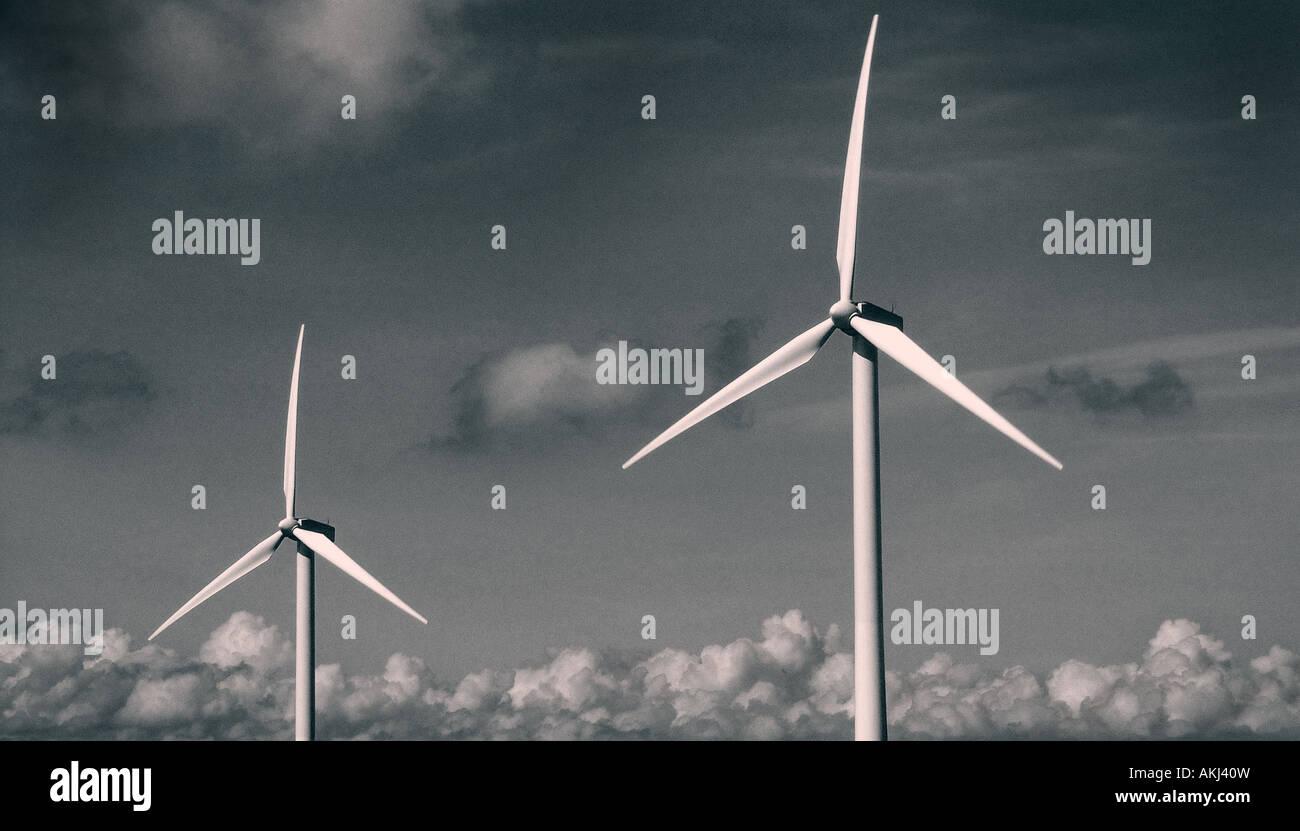 erneuerbare Energien Landschaftsbild von Windkraftanlagen Stockbild
