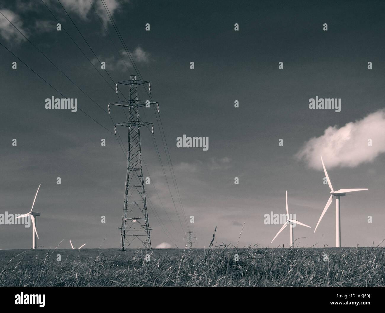 Windkraftanlagen, erneuerbare Energien Landschaftsbild von Windkraftanlagen Stockbild