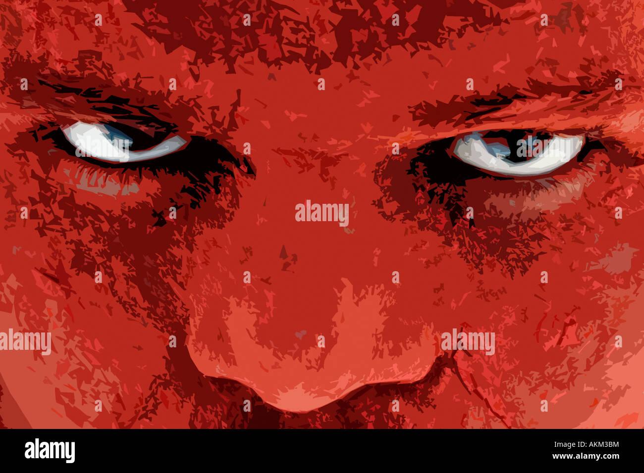 Böse rote starren indischen Gesicht Stockbild