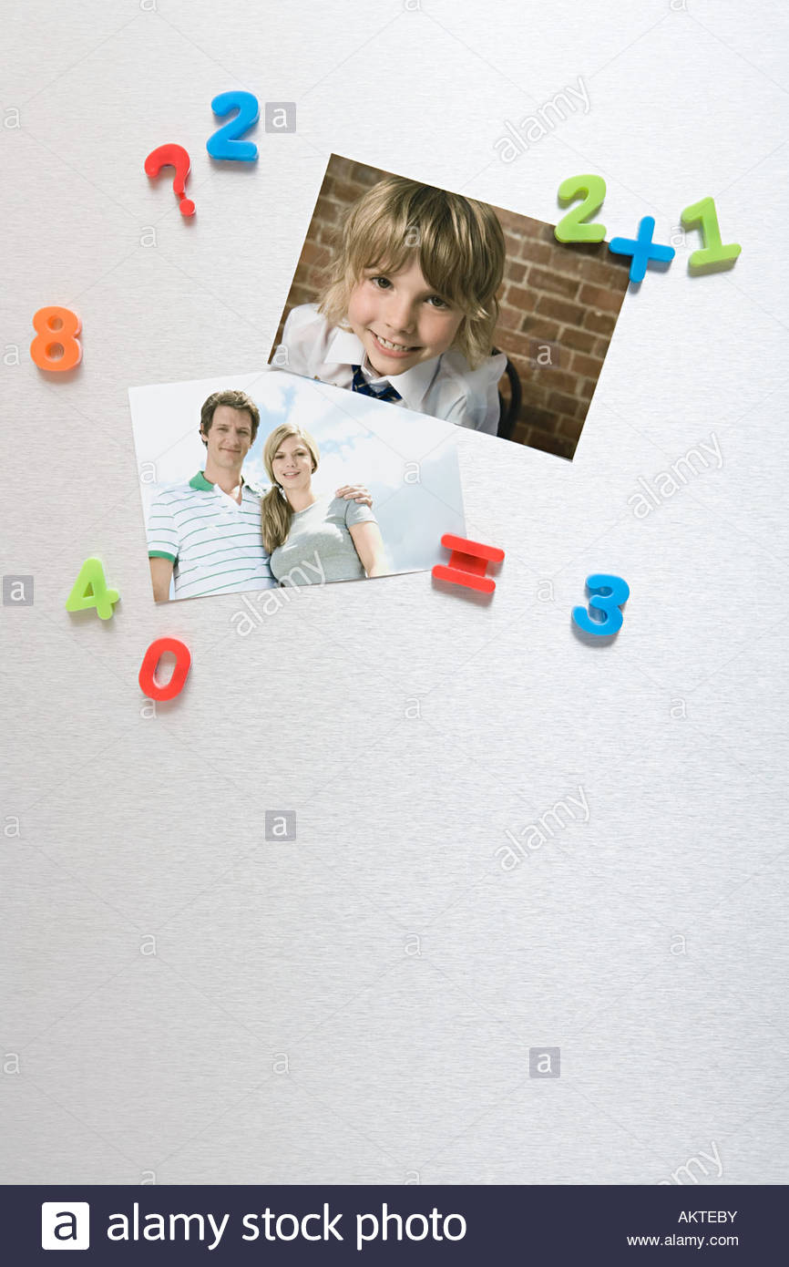 Fotos auf einen Kühlschrank Stockbild