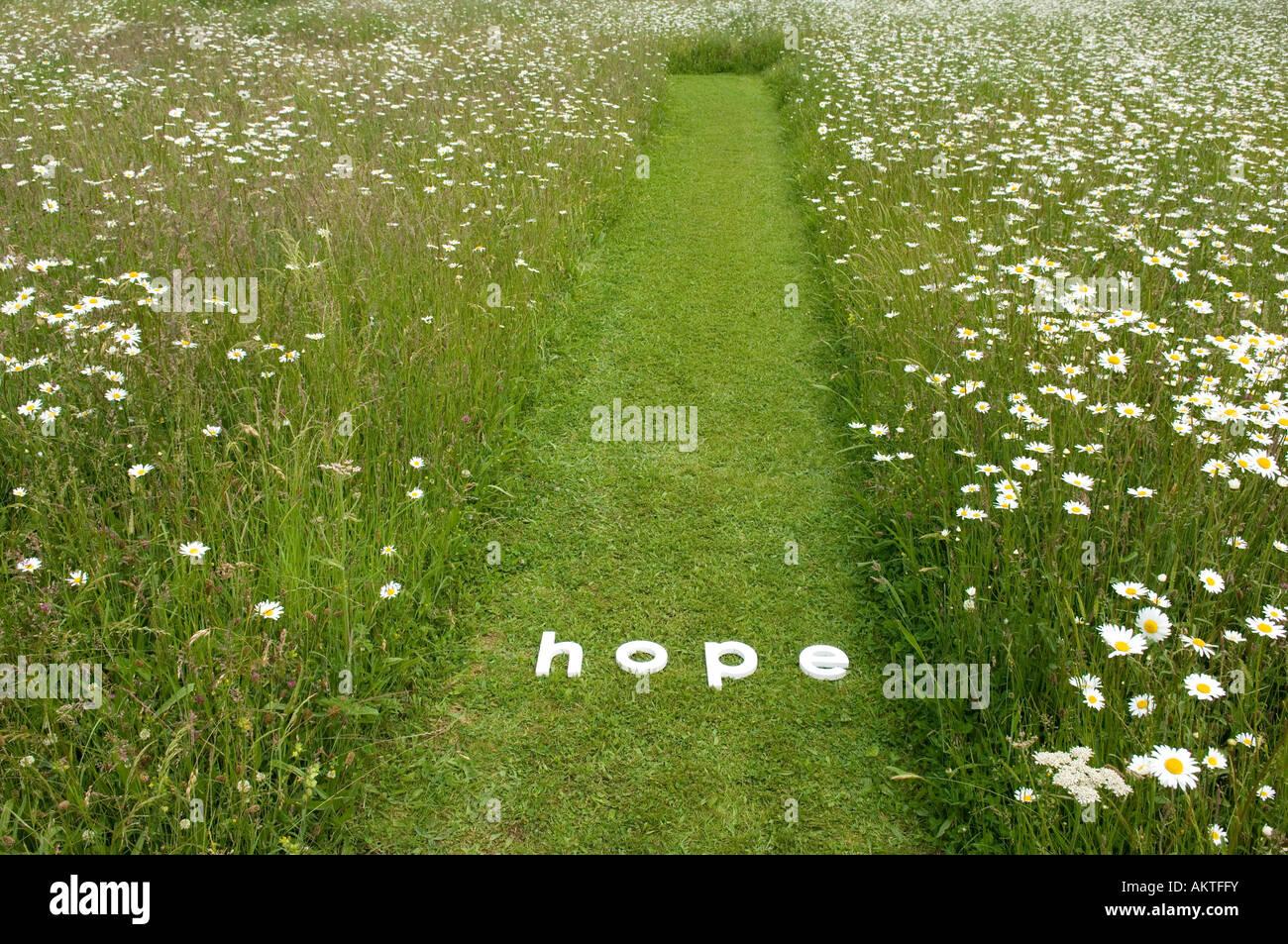 Das Wort Hoffnung Stockbild