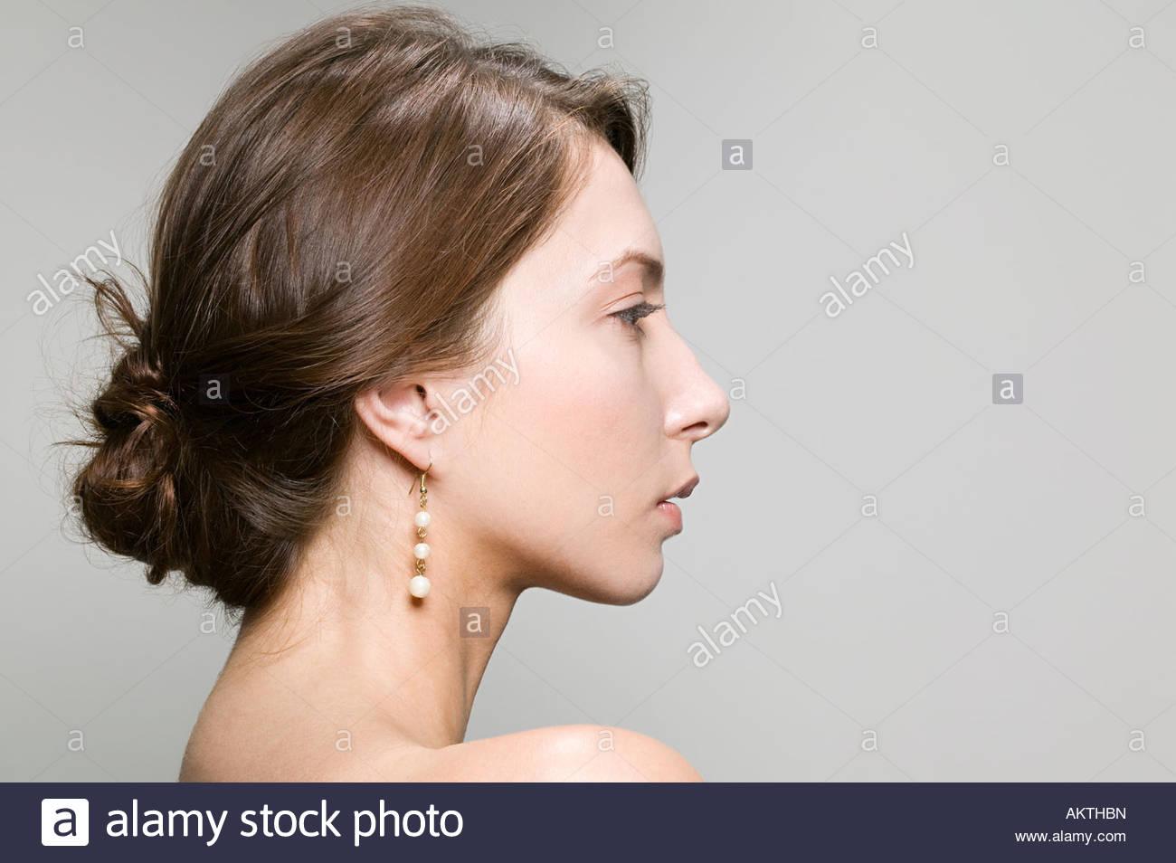 Profil einer jungen Frau Stockbild
