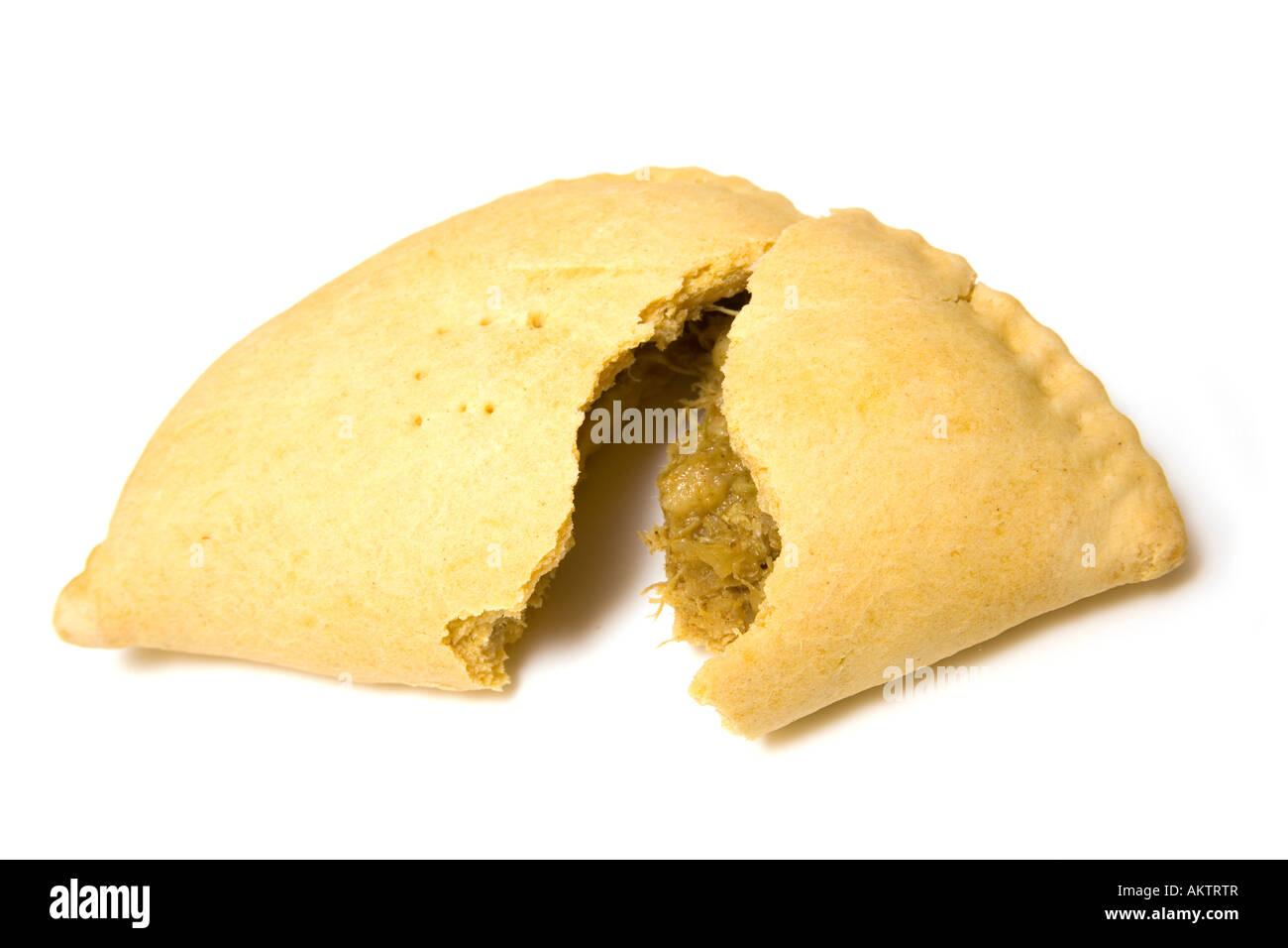 Karibische Fleisch Pattie isoliert auf einem weißen Studio-Hintergrund. Stockbild