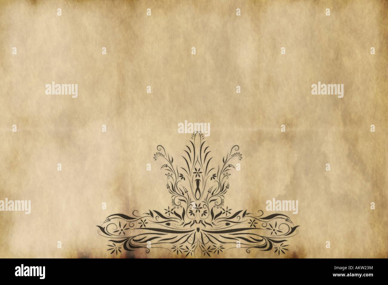 Design im königlichen Stil auf altem Papier gedruckt Stockfoto