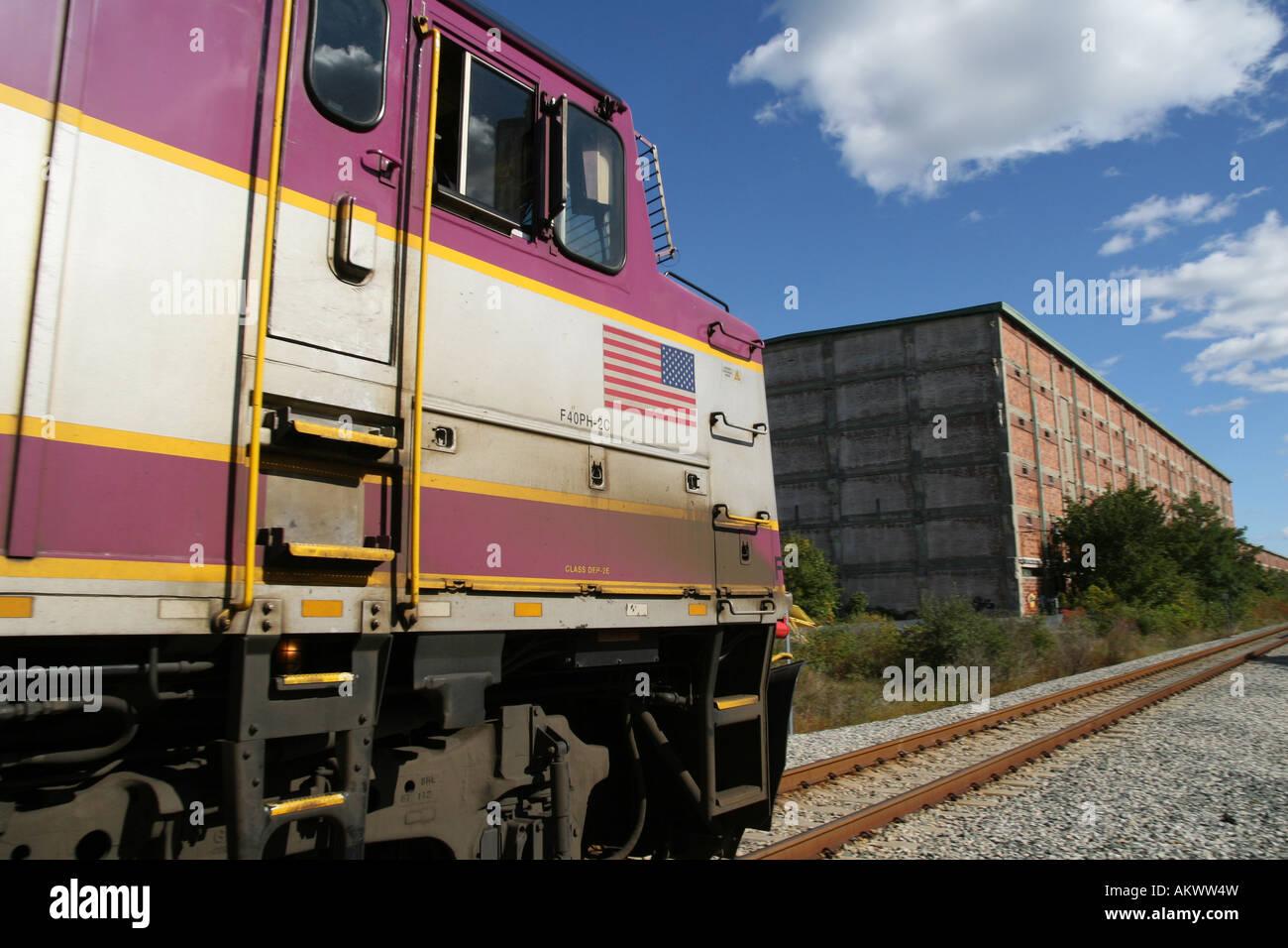MBTA Passagier Lokomotive bei Plymouth MA Stockfoto