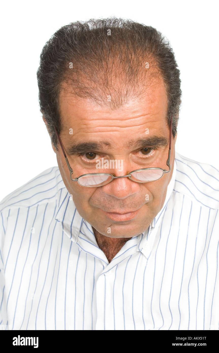 Reifer Mann mit Haarausdünnung problem Stockfoto