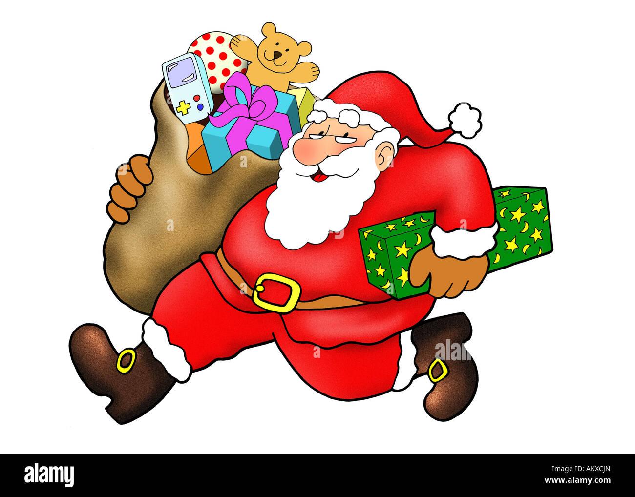 Weihnachtsmann mit Geschenken, íllustration Stockbild