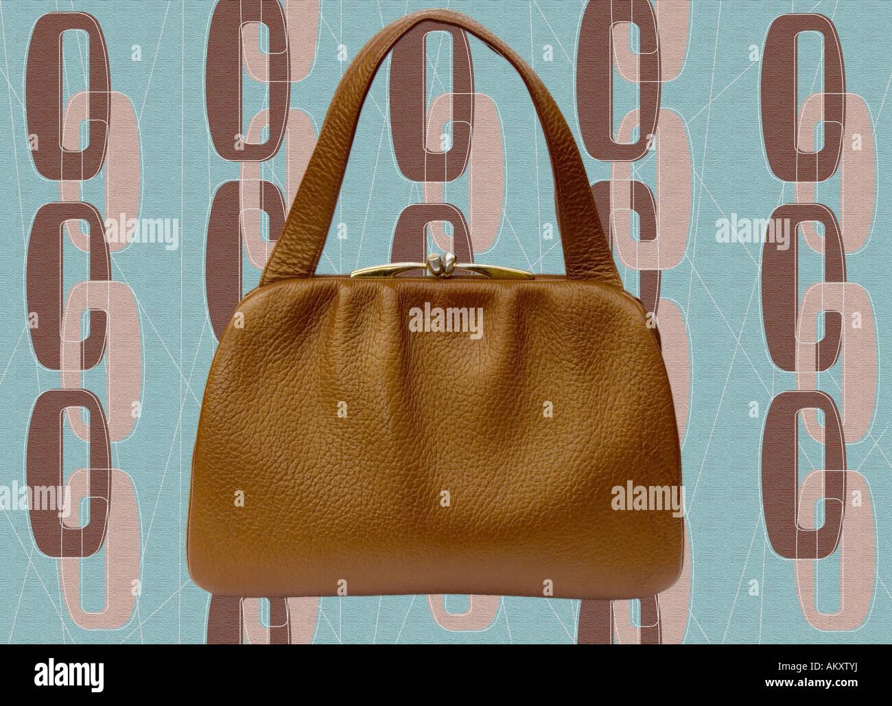 d85f26ccf84b4 1940er Jahre Vintage Handtasche erschossen Hintergrund Stil Tapete Stockbild