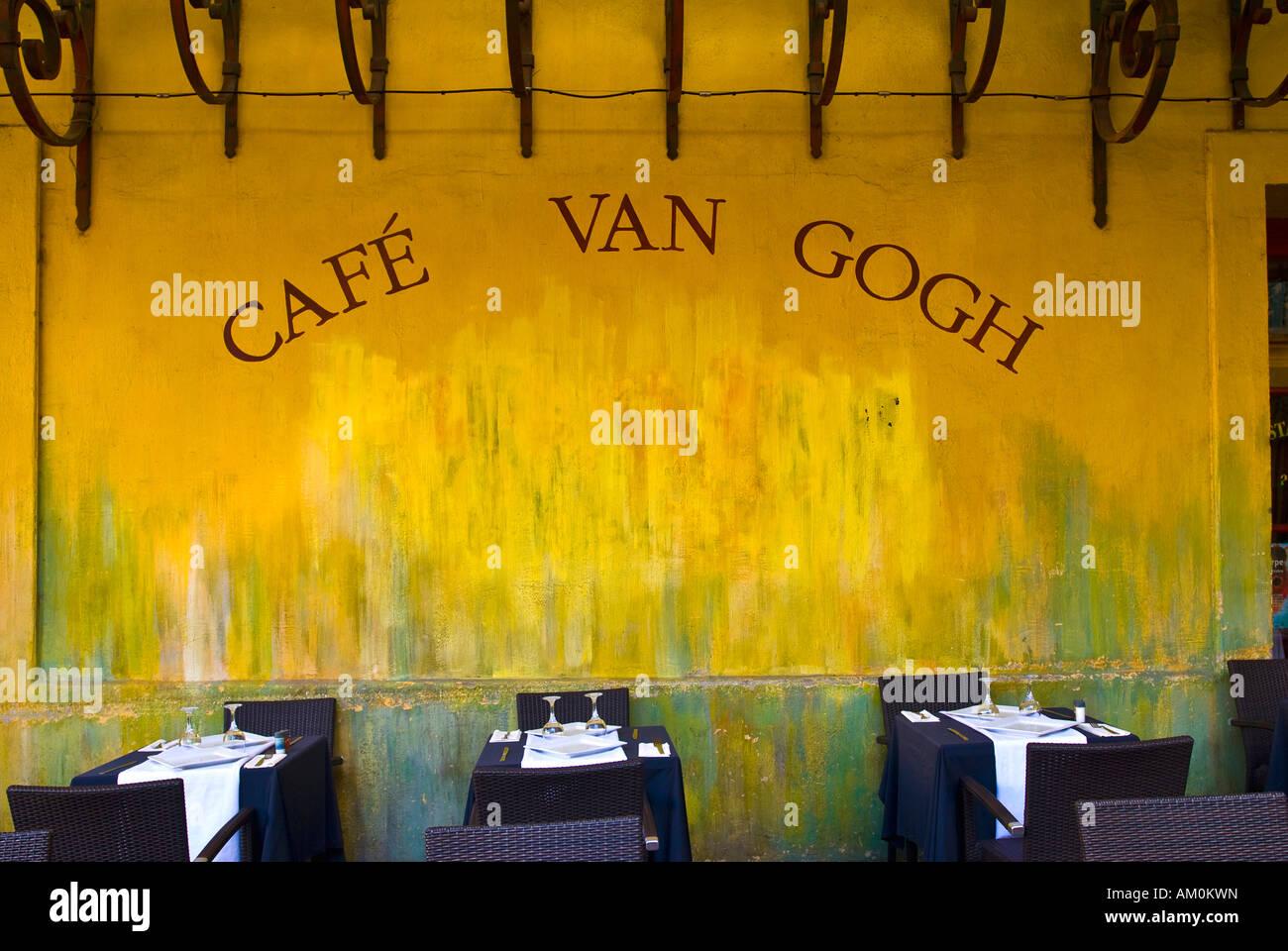 Cafe la Nuit, Cafe van Gogh, Place du Forum, Arles, Provence-Alpes-Cote d ' Azur, Frankreich Stockbild
