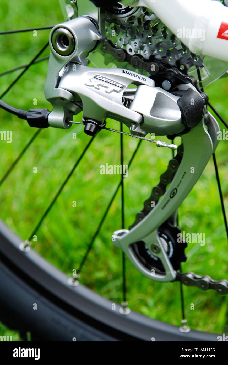 Derailleur Zahnräder auf einem Moutain-bike Stockbild
