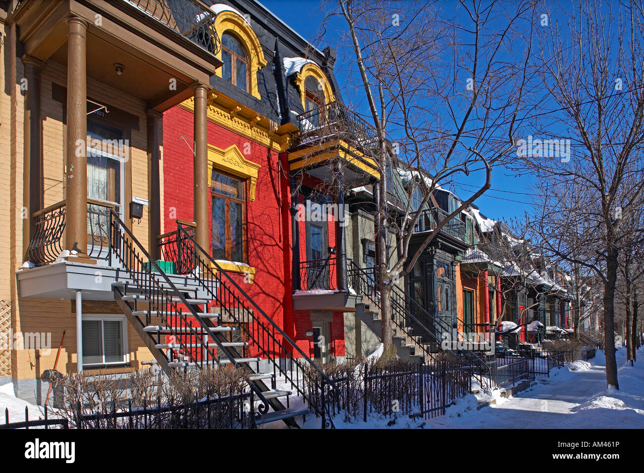 kanada provinz quebec montreal plateau mont royal district bunte h user in de bullion street. Black Bedroom Furniture Sets. Home Design Ideas