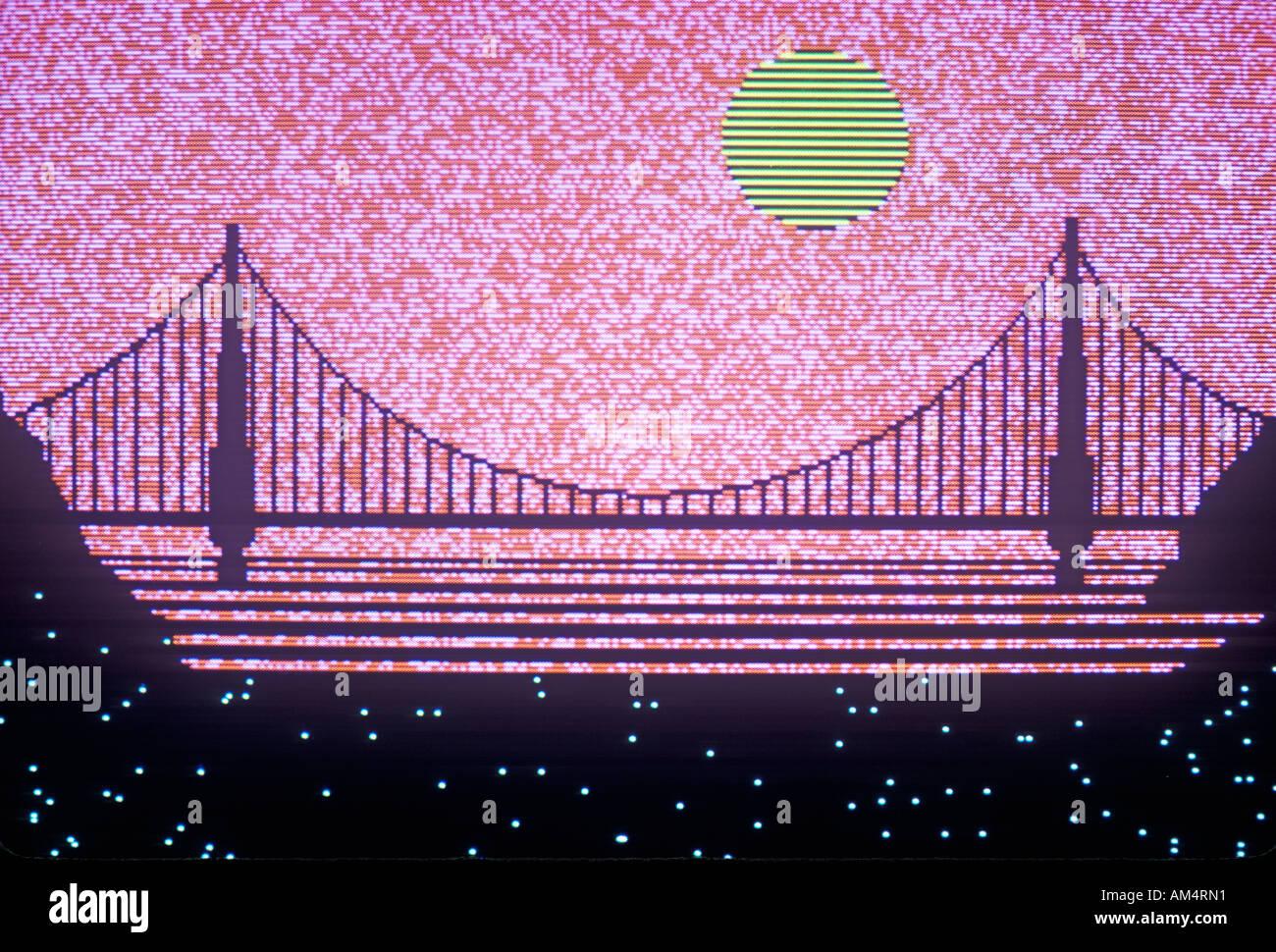 Computer Grafiken Überstellung von der Bay Bridge San Francisco Kalifornien Stockbild