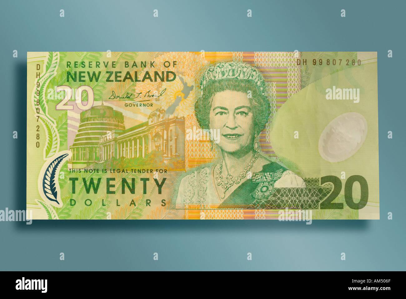 20 Dollarschein aus Neuseeland Stockfoto, Bild: 1331310 - Alamy
