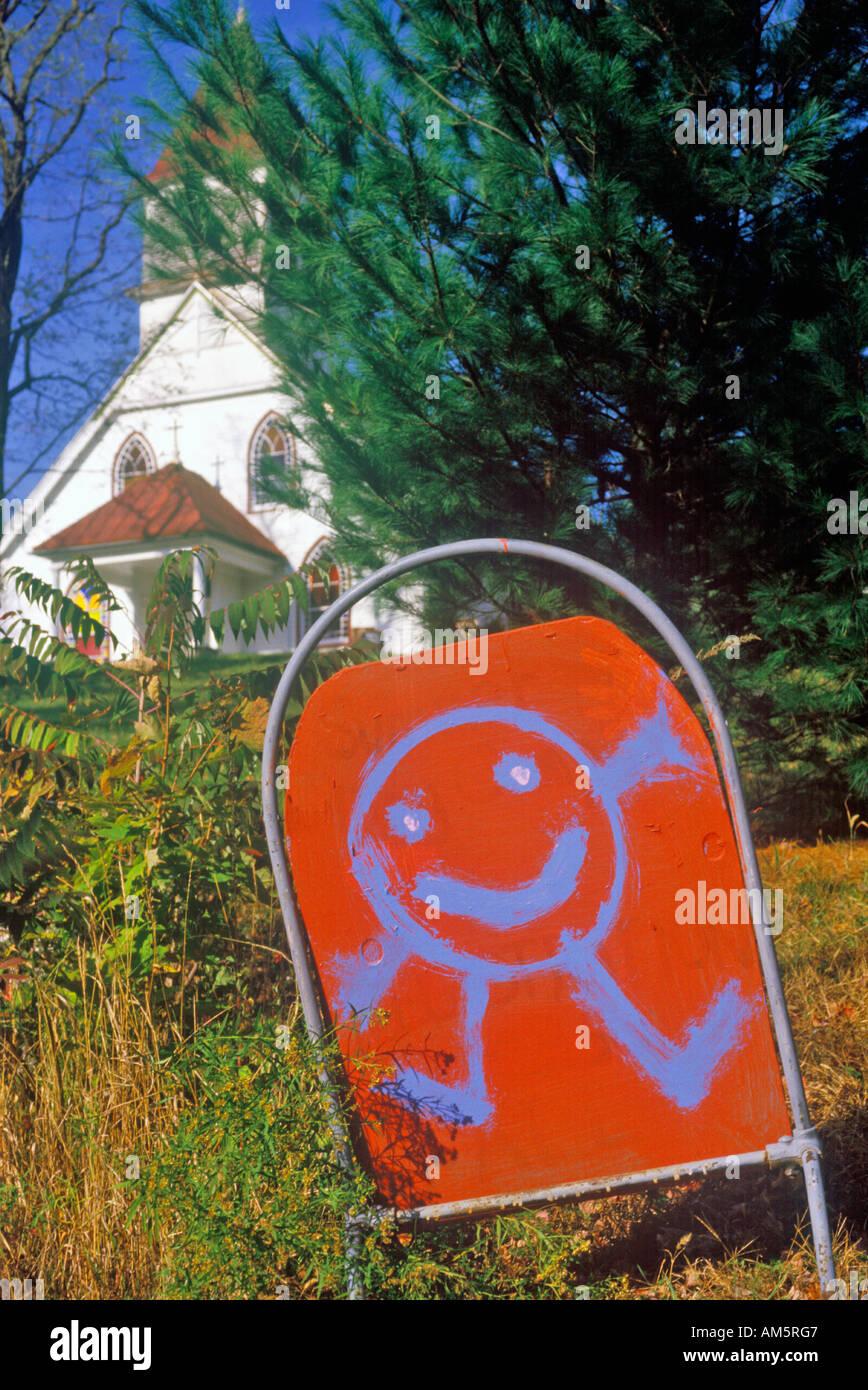 Herbst in New York Catskills mit glücklich Zeichentrickfigur im Kindergarten anmelden Stockbild