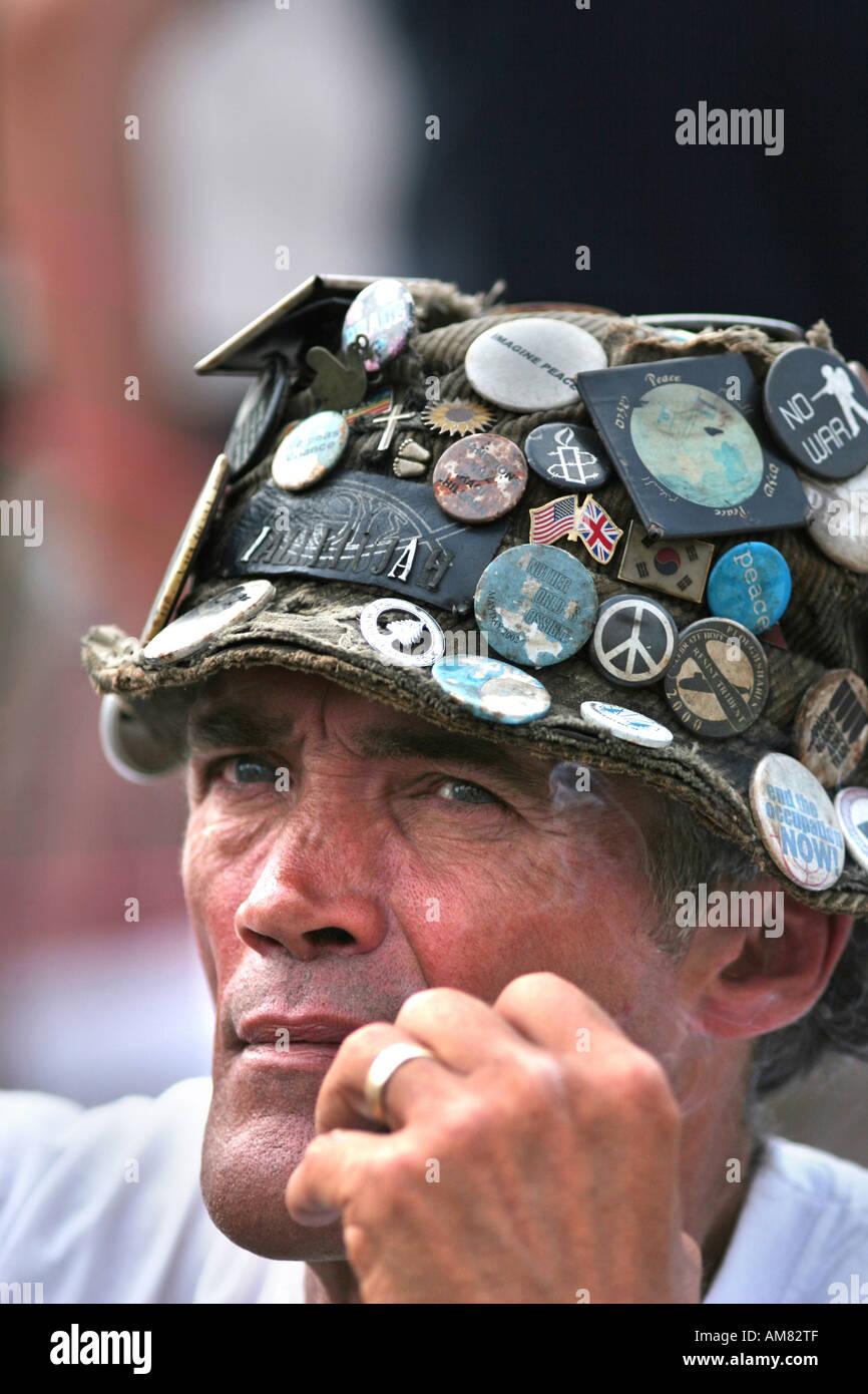 Brian Haw Frieden Demonstrant in London UK Stockbild