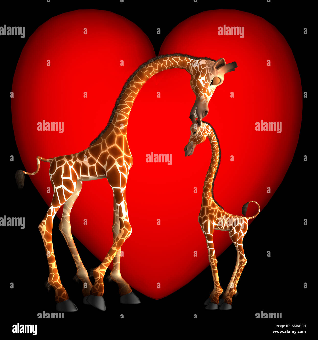 Gabby Giraffe zeigt Zuneigung zu ihrem Sohn, indem man ihm ein Küsschen auf den Kopf. Valentines sind nicht Stockbild