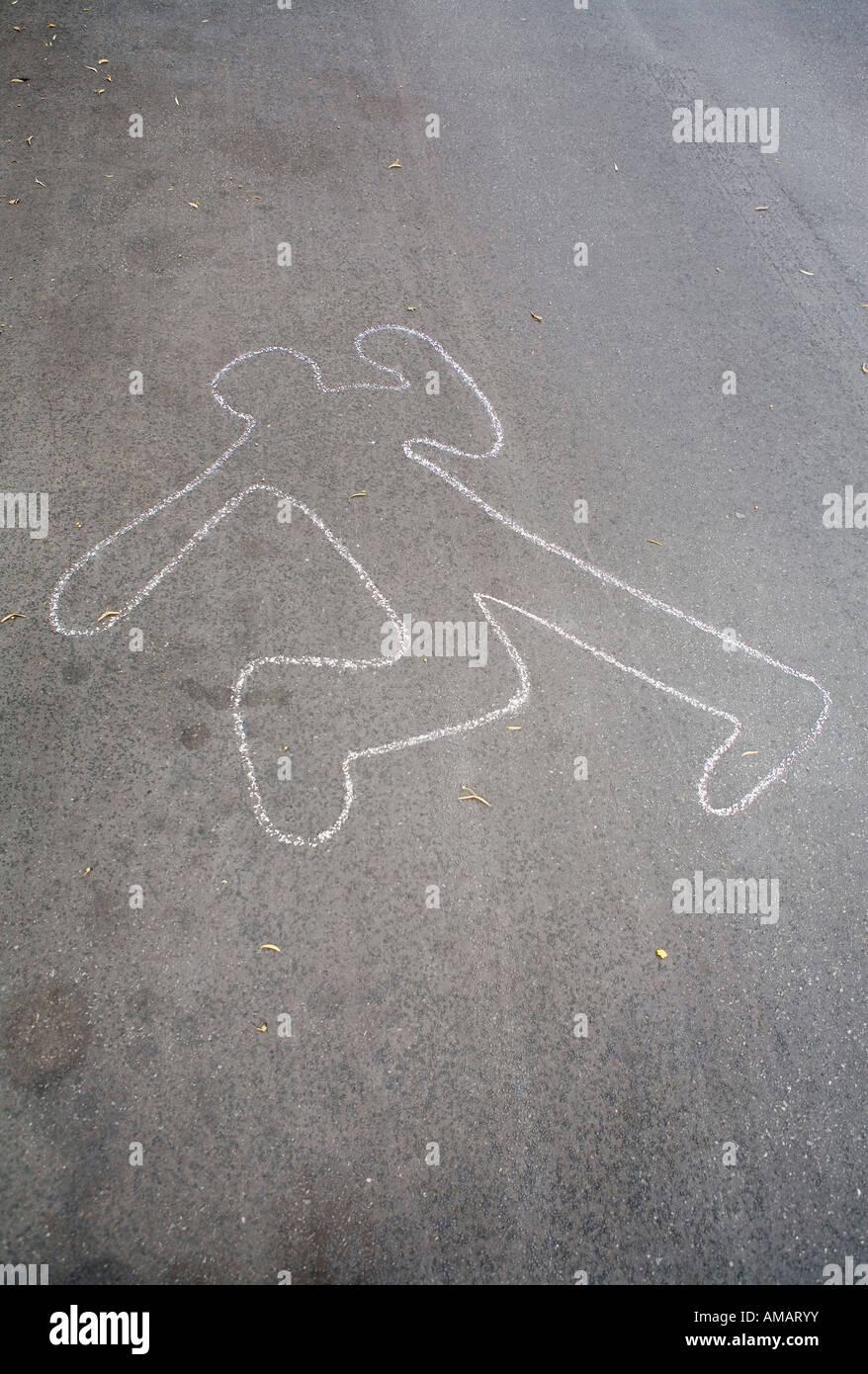 Chalk Outline Of A Body Stockfotos & Chalk Outline Of A Body Bilder ...