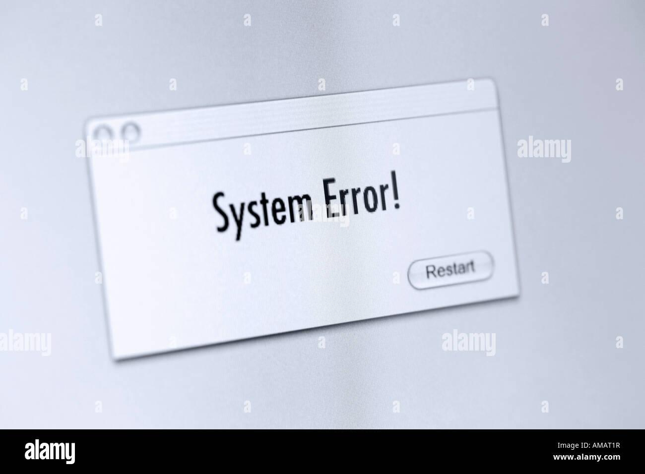 Fehlermeldung auf einem Computer-Bildschirm Stockbild