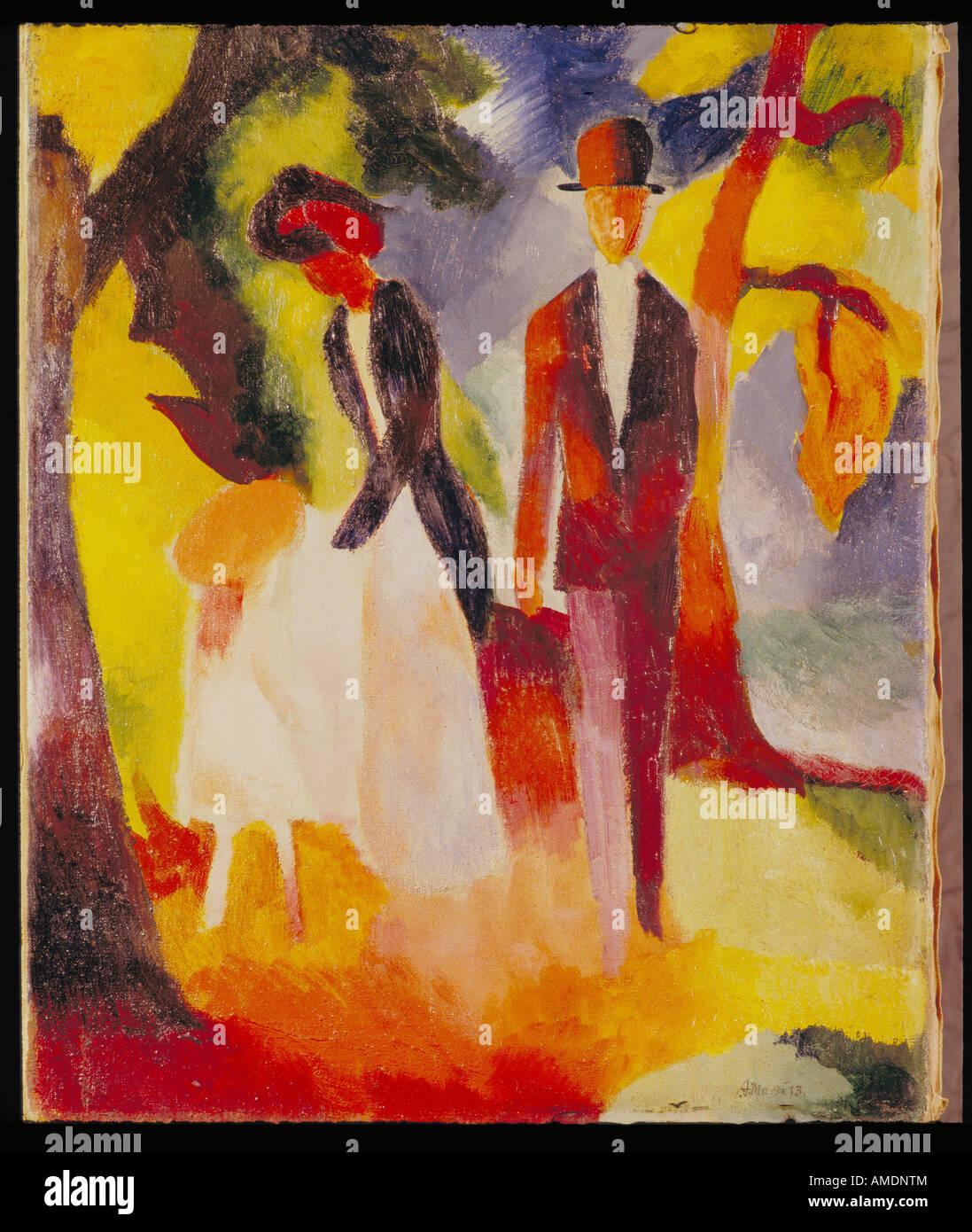"""Bildende Kunst, Macke, August, (3.1.1887 - 26.9.1914), Malerei, """"Leute am blauen Siehe', 'Leute am Blauen See"""", Stockfoto"""