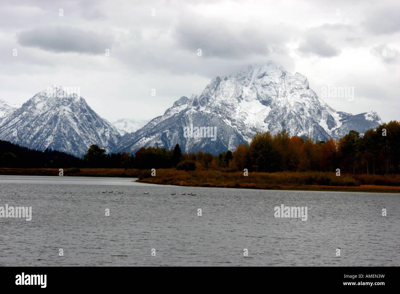 Mount Moran von Oxbow Bend, Grand-Teton-Nationalpark, wyoming Stockfoto