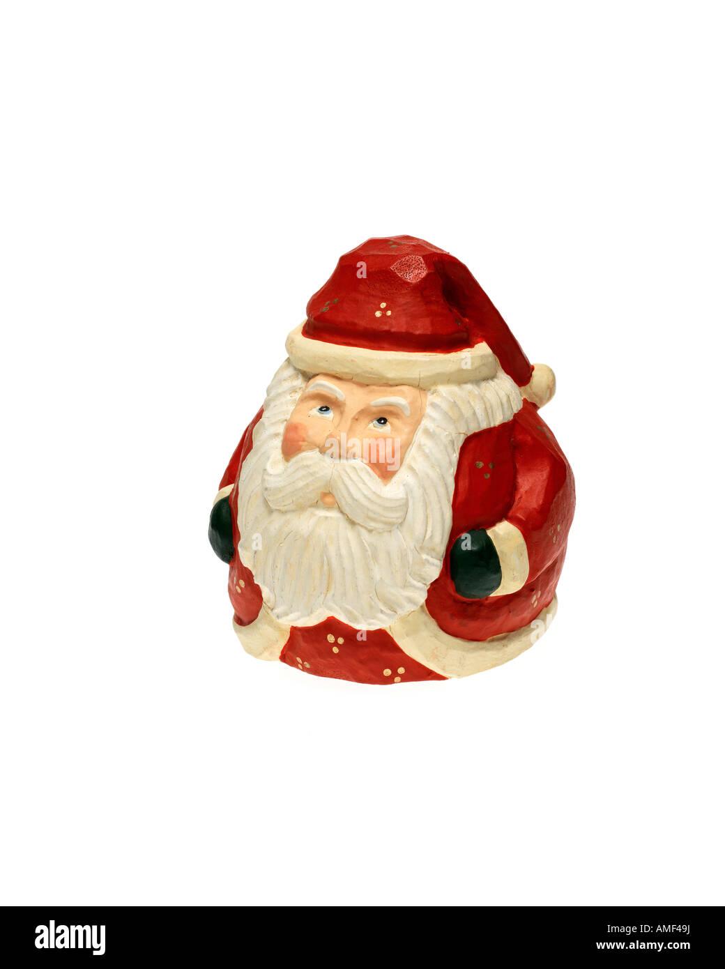 Vintage Weihnachtsmann Holzschnitzerei Figur auf weißem Hintergrund Stockbild